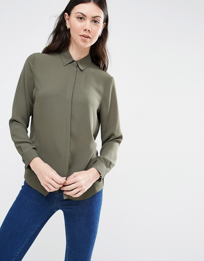 Blouse Khaki - neckline: shirt collar/peter pan/zip with opening; pattern: plain; style: shirt; predominant colour: khaki; occasions: casual; length: standard; fibres: polyester/polyamide - 100%; fit: body skimming; sleeve length: long sleeve; sleeve style: standard; texture group: crepes; pattern type: fabric; season: s/s 2016; wardrobe: basic