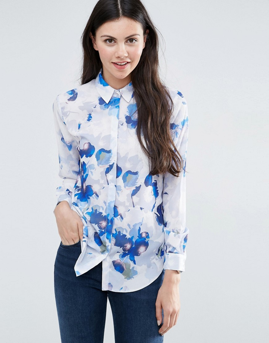 Abstract Blue Flower Print Blouse Multi - neckline: shirt collar/peter pan/zip with opening; style: shirt; predominant colour: white; secondary colour: royal blue; occasions: casual; length: standard; fibres: polyester/polyamide - 100%; fit: body skimming; sleeve length: long sleeve; sleeve style: standard; pattern type: fabric; pattern: florals; texture group: other - light to midweight; multicoloured: multicoloured; season: s/s 2016; wardrobe: highlight