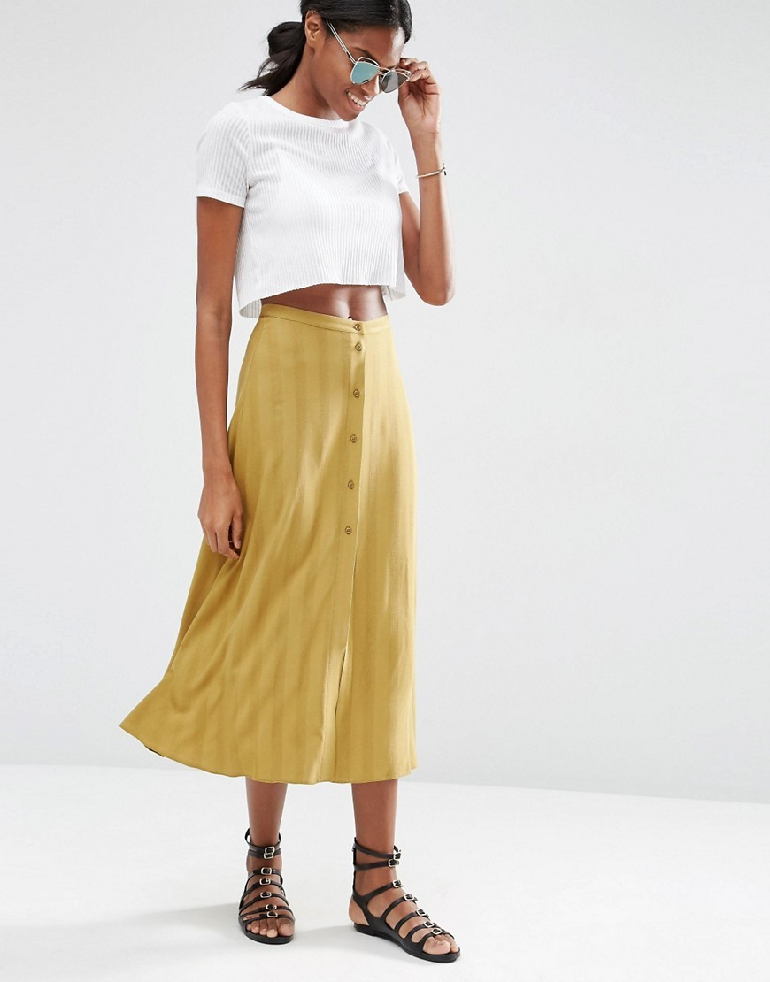 Button Through Midi Skirt Khaki - length: calf length; pattern: plain; fit: loose/voluminous; waist: high rise; predominant colour: yellow; occasions: casual, creative work; style: a-line; fibres: cotton - 100%; pattern type: fabric; texture group: other - light to midweight; season: s/s 2016; wardrobe: highlight