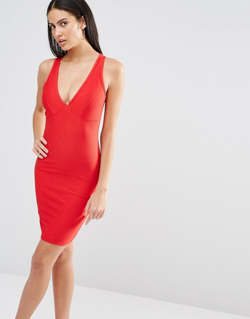Plunge Neck Bodycon Dress Red - neckline: low v-neck; fit: tight; pattern: plain; sleeve style: sleeveless; style: bodycon; predominant colour: true red; occasions: evening; length: just above the knee; fibres: polyester/polyamide - stretch; sleeve length: sleeveless; texture group: jersey - clingy; pattern type: fabric; season: s/s 2016