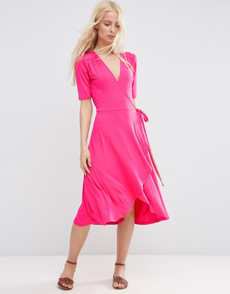Midi Tea Dress With Wrap Front Raspberry - style: faux wrap/wrap; length: below the knee; neckline: v-neck; pattern: plain; waist detail: belted waist/tie at waist/drawstring; predominant colour: hot pink; occasions: evening; fit: body skimming; fibres: viscose/rayon - stretch; sleeve length: half sleeve; sleeve style: standard; pattern type: fabric; texture group: jersey - stretchy/drapey; season: s/s 2016