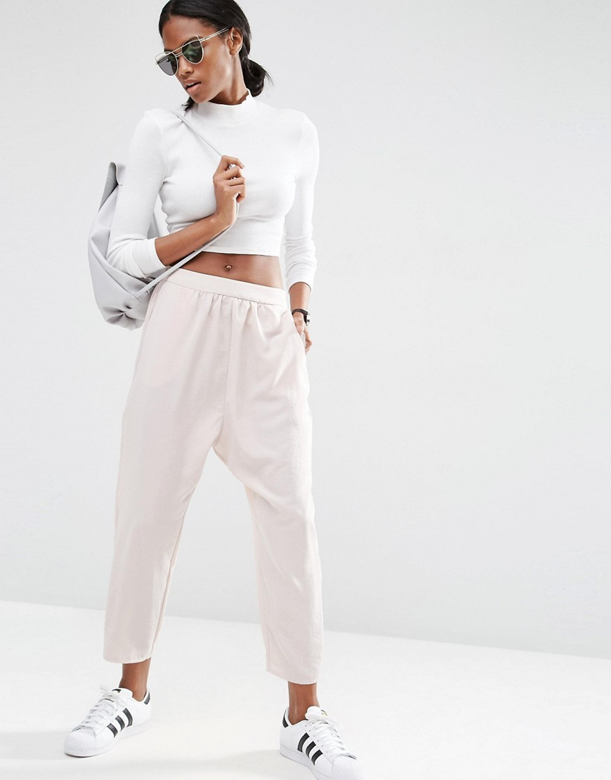 Satin Harem Trousers Blush - pattern: plain; style: harem/slouch; waist: mid/regular rise; predominant colour: blush; occasions: casual, creative work; length: ankle length; fibres: polyester/polyamide - 100%; texture group: structured shiny - satin/tafetta/silk etc.; fit: tapered; pattern type: fabric; season: s/s 2016; wardrobe: highlight