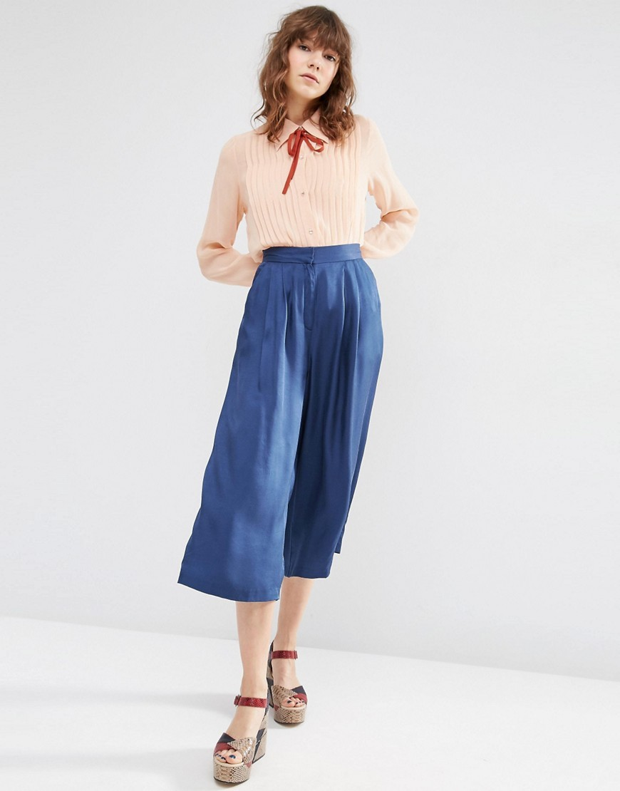 Luxe Wide Leg Culottes Navy - length: standard; pattern: plain; style: palazzo; waist: high rise; predominant colour: navy; occasions: casual; fibres: cotton - 100%; waist detail: feature waist detail; texture group: cotton feel fabrics; fit: wide leg; pattern type: fabric; season: s/s 2016; wardrobe: basic