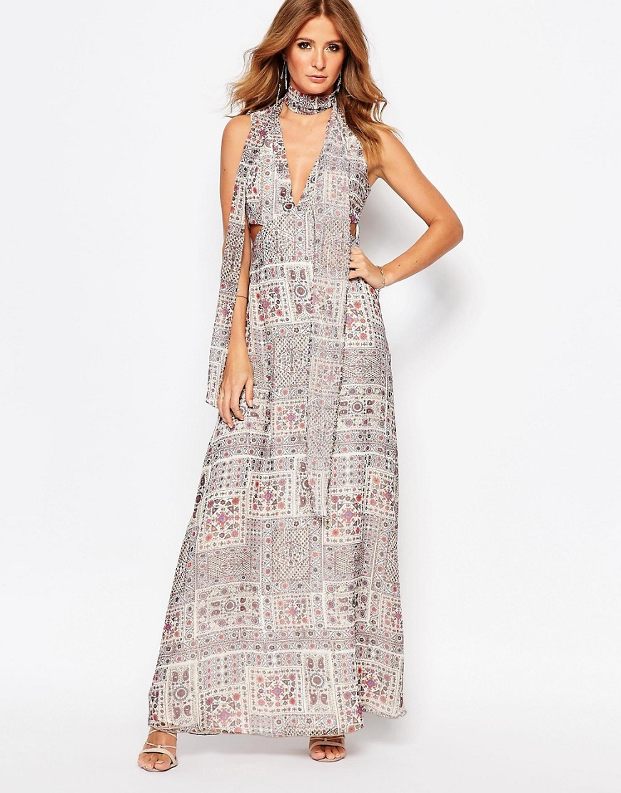 Cut Out Maxi Dress Multi - neckline: low v-neck; sleeve style: sleeveless; style: maxi dress; predominant colour: light grey; occasions: evening; length: floor length; fit: body skimming; fibres: polyester/polyamide - stretch; sleeve length: sleeveless; pattern type: fabric; pattern: patterned/print; texture group: jersey - stretchy/drapey; season: s/s 2016; wardrobe: event