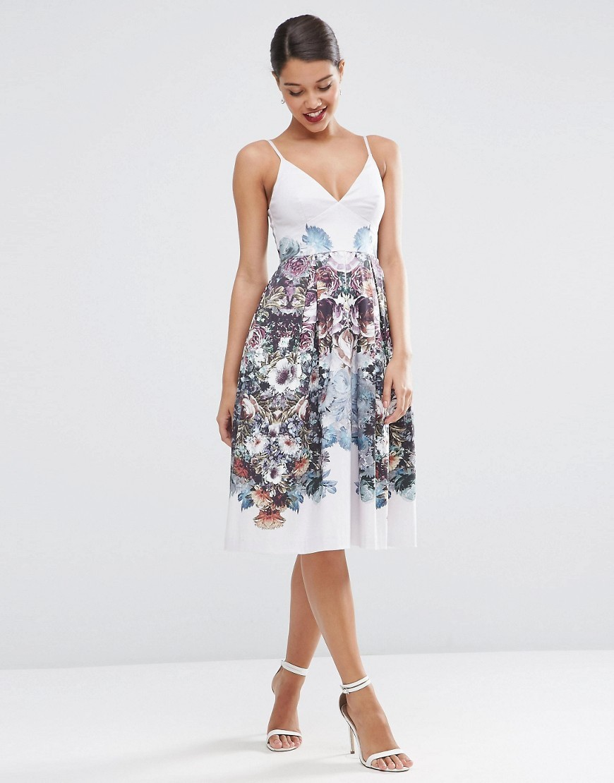Winter Forest Floral Pinny Midi Prom Dress Multi - neckline: low v-neck; sleeve style: spaghetti straps; style: prom dress; predominant colour: white; secondary colour: pale blue; occasions: evening; length: on the knee; fit: fitted at waist & bust; fibres: cotton - mix; sleeve length: sleeveless; texture group: cotton feel fabrics; pattern type: fabric; pattern: florals; multicoloured: multicoloured; season: s/s 2016; wardrobe: event