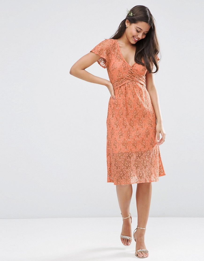 Wedding Lace Wrap Tie Midi Dress Orange - style: shift; neckline: v-neck; predominant colour: bright orange; occasions: evening; length: on the knee; fit: body skimming; fibres: nylon - mix; sleeve length: short sleeve; sleeve style: standard; texture group: lace; pattern type: fabric; pattern size: standard; pattern: patterned/print; season: s/s 2016; wardrobe: event