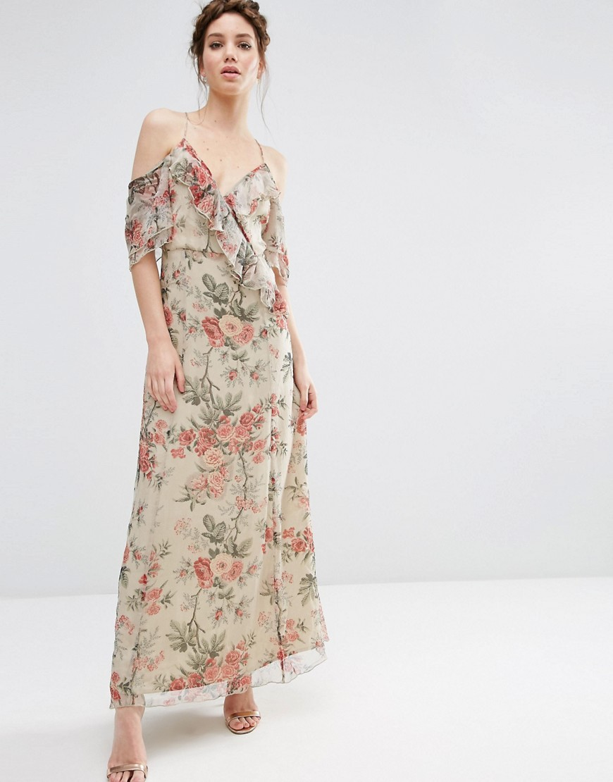Ruffle Cold Shoulder Maxi Dress In Vintage Floral Print Multi - neckline: low v-neck; style: maxi dress; length: ankle length; predominant colour: ivory/cream; secondary colour: coral; occasions: evening; fit: body skimming; fibres: viscose/rayon - 100%; shoulder detail: cut out shoulder; sleeve length: short sleeve; sleeve style: standard; texture group: sheer fabrics/chiffon/organza etc.; pattern type: fabric; pattern: florals; multicoloured: multicoloured; season: s/s 2016; wardrobe: event