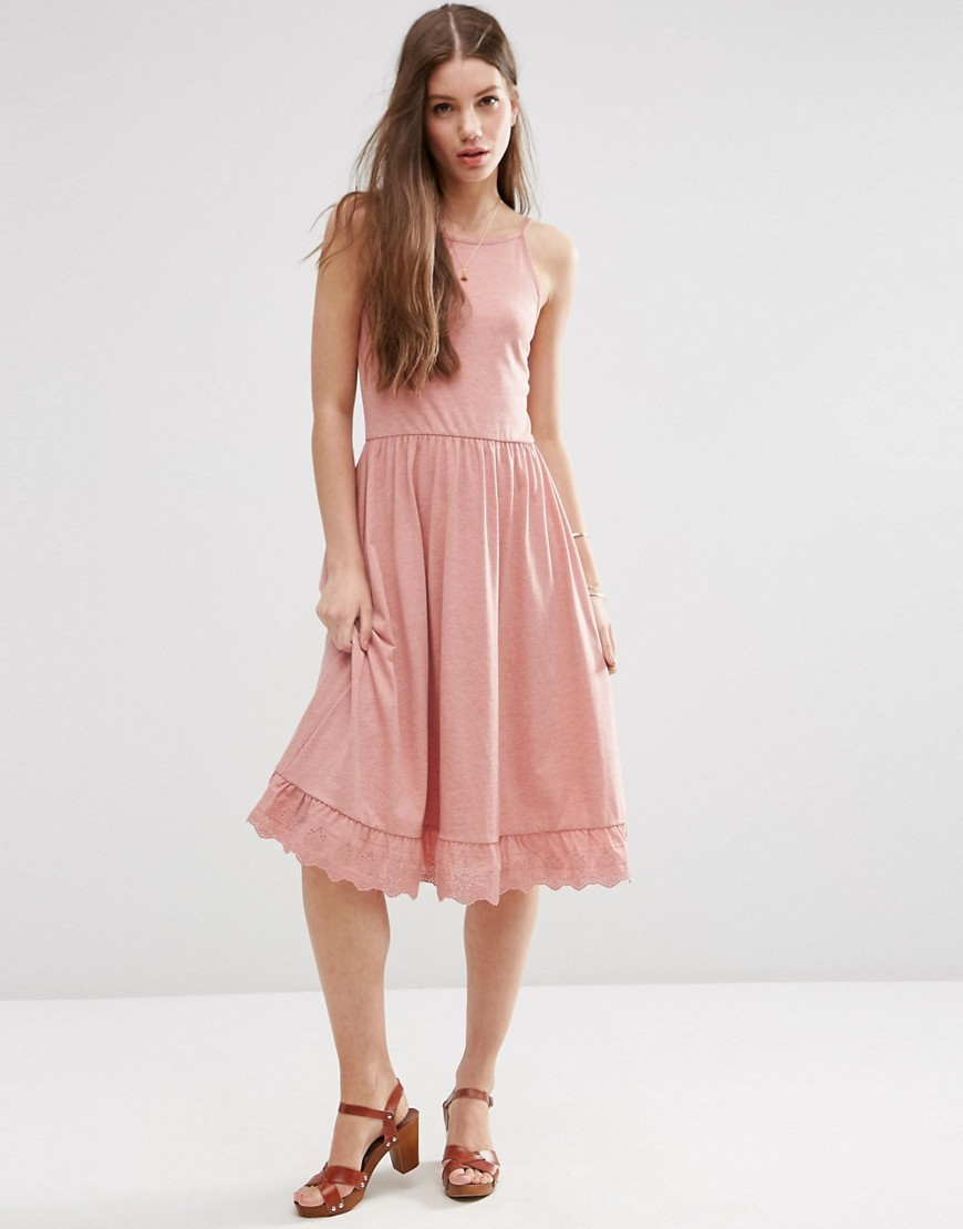 Midi Sundress With Dropped Pep Hem Dusty Pink - length: below the knee; sleeve style: spaghetti straps; pattern: plain; style: sundress; predominant colour: blush; occasions: casual; fit: fitted at waist & bust; fibres: polyester/polyamide - mix; sleeve length: sleeveless; neckline: medium square neck; pattern type: fabric; texture group: jersey - stretchy/drapey; season: s/s 2016; wardrobe: basic