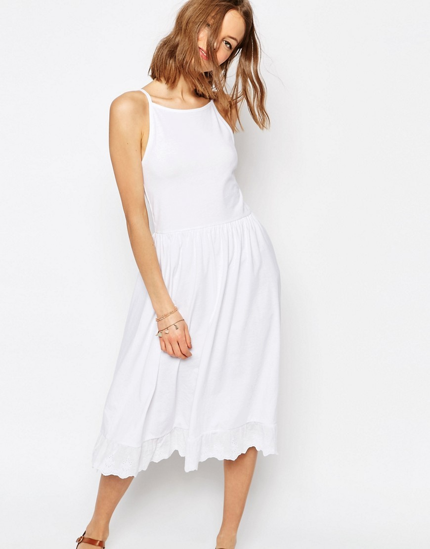Midi Sundress With Dropped Pep Hem White - length: calf length; neckline: round neck; sleeve style: spaghetti straps; pattern: plain; style: sundress; predominant colour: white; occasions: casual, holiday, creative work; fit: fitted at waist & bust; fibres: cotton - mix; sleeve length: sleeveless; pattern type: fabric; texture group: jersey - stretchy/drapey; season: s/s 2016; wardrobe: basic