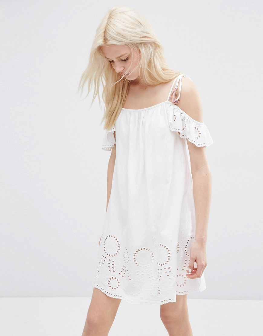 Broderie Off Shoulder Sundress With Coloured Tassel Detail White - length: mid thigh; neckline: off the shoulder; sleeve style: capped; style: sundress; predominant colour: white; occasions: casual, holiday; fit: body skimming; fibres: cotton - 100%; sleeve length: short sleeve; texture group: lace; pattern type: fabric; pattern size: light/subtle; pattern: patterned/print; season: s/s 2016; wardrobe: highlight