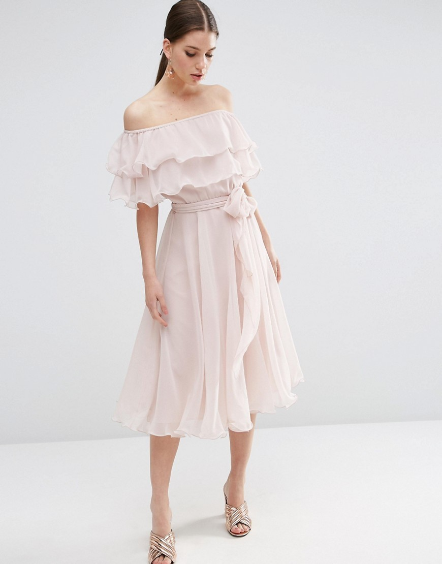 Bardot Off The Shoulder Multi Ruffle Midi Prom Dress Nude - length: below the knee; neckline: off the shoulder; fit: fitted at waist; pattern: plain; style: blouson; waist detail: belted waist/tie at waist/drawstring; predominant colour: blush; occasions: evening, occasion; fibres: polyester/polyamide - 100%; sleeve length: short sleeve; sleeve style: standard; texture group: sheer fabrics/chiffon/organza etc.; bust detail: tiers/frills/bulky drapes/pleats; pattern type: fabric; season: s/s 2016; wardrobe: event