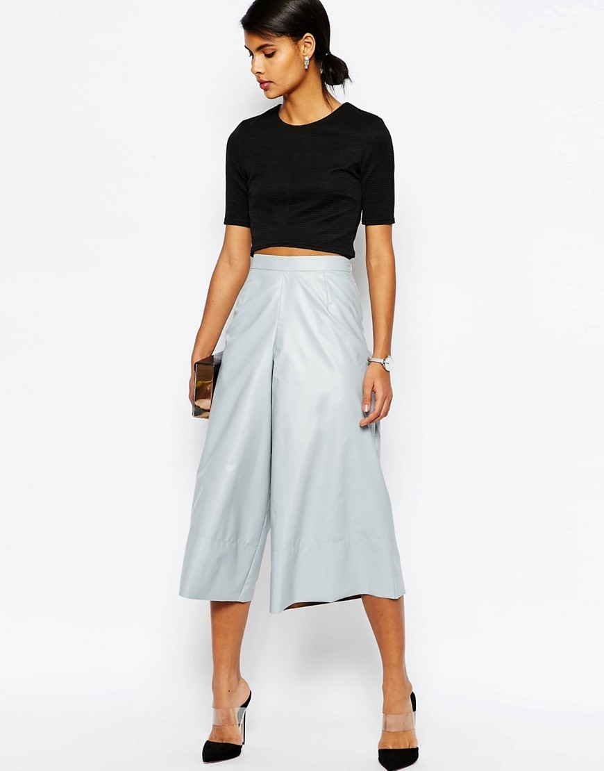 Occasion Leather Look Culottes Light Grey - pattern: plain; style: palazzo; waist: mid/regular rise; predominant colour: pale blue; occasions: evening, creative work; length: calf length; fibres: polyester/polyamide - 100%; hip detail: subtle/flattering hip detail; texture group: leather; fit: wide leg; pattern type: fabric; season: s/s 2016; wardrobe: highlight