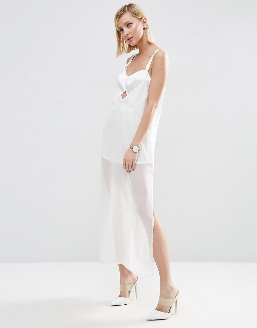 Cami Strap Midi Dress With Bodysuit White - neckline: low v-neck; sleeve style: spaghetti straps; pattern: plain; style: maxi dress; length: ankle length; hip detail: draws attention to hips; predominant colour: white; occasions: evening; fit: body skimming; fibres: polyester/polyamide - 100%; waist detail: cut out detail; sleeve length: sleeveless; texture group: sheer fabrics/chiffon/organza etc.; pattern type: fabric; season: s/s 2016; wardrobe: event