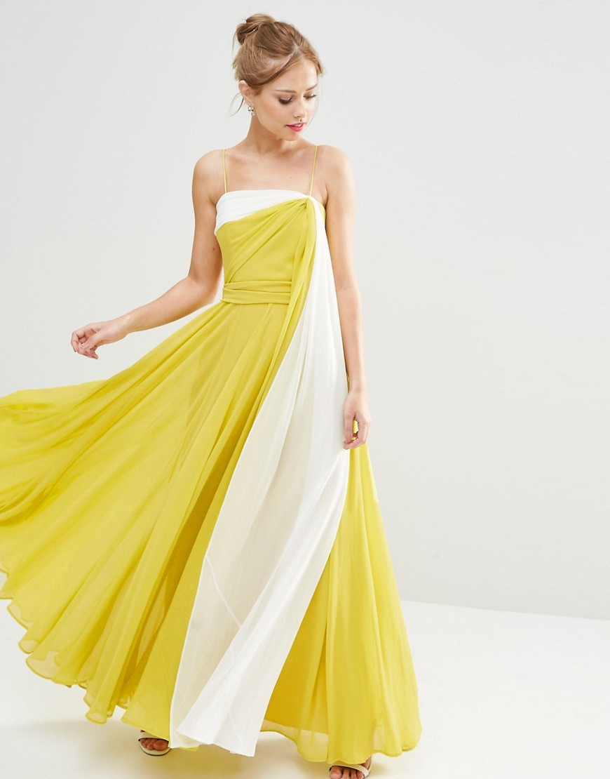 Salon Colour Block Cami Maxi Dress Multi - style: ballgown; neckline: strapless (straight/sweetheart); sleeve style: strapless; secondary colour: white; predominant colour: lime; occasions: evening, occasion; length: floor length; fit: body skimming; fibres: polyester/polyamide - 100%; sleeve length: sleeveless; texture group: sheer fabrics/chiffon/organza etc.; pattern type: fabric; pattern: colourblock; season: s/s 2016; wardrobe: event