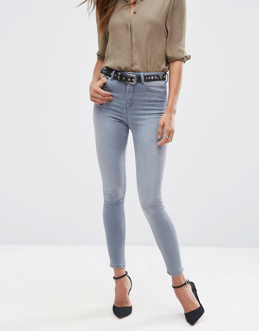 Ridley Skinny Jeans In Steel Grey Steel Grey - style: skinny leg; length: standard; pattern: plain; pocket detail: traditional 5 pocket; waist: mid/regular rise; predominant colour: mid grey; occasions: casual; fibres: cotton - stretch; texture group: denim; pattern type: fabric; season: s/s 2016; wardrobe: highlight