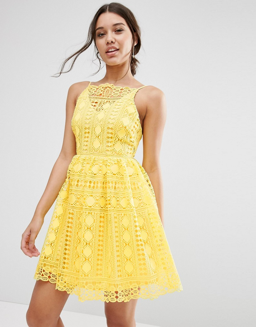 Premium Occasion Mini Dress In Geo Lace Yellow - neckline: slash/boat neckline; sleeve style: sleeveless; style: full skirt; predominant colour: yellow; occasions: evening, occasion; length: just above the knee; fit: fitted at waist & bust; fibres: polyester/polyamide - 100%; sleeve length: sleeveless; texture group: lace; pattern type: fabric; pattern size: standard; pattern: patterned/print; season: s/s 2016; wardrobe: event