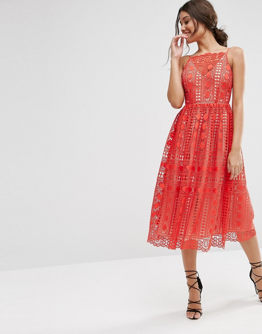 Premium Occasion Midi Dress In Geo Lace Red - length: calf length; neckline: slash/boat neckline; sleeve style: sleeveless; style: prom dress; predominant colour: true red; occasions: evening, occasion; fit: fitted at waist & bust; fibres: polyester/polyamide - 100%; sleeve length: sleeveless; texture group: lace; pattern type: fabric; pattern size: standard; pattern: patterned/print; season: s/s 2016