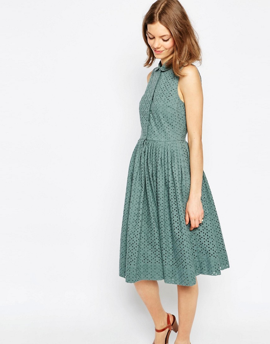 Midi Broderie Shirt Dress Multi - length: calf length; neckline: shirt collar/peter pan/zip with opening; pattern: plain; sleeve style: sleeveless; style: full skirt; predominant colour: dark green; occasions: casual; fit: fitted at waist & bust; fibres: cotton - 100%; sleeve length: sleeveless; pattern type: fabric; texture group: broiderie anglais; season: s/s 2016