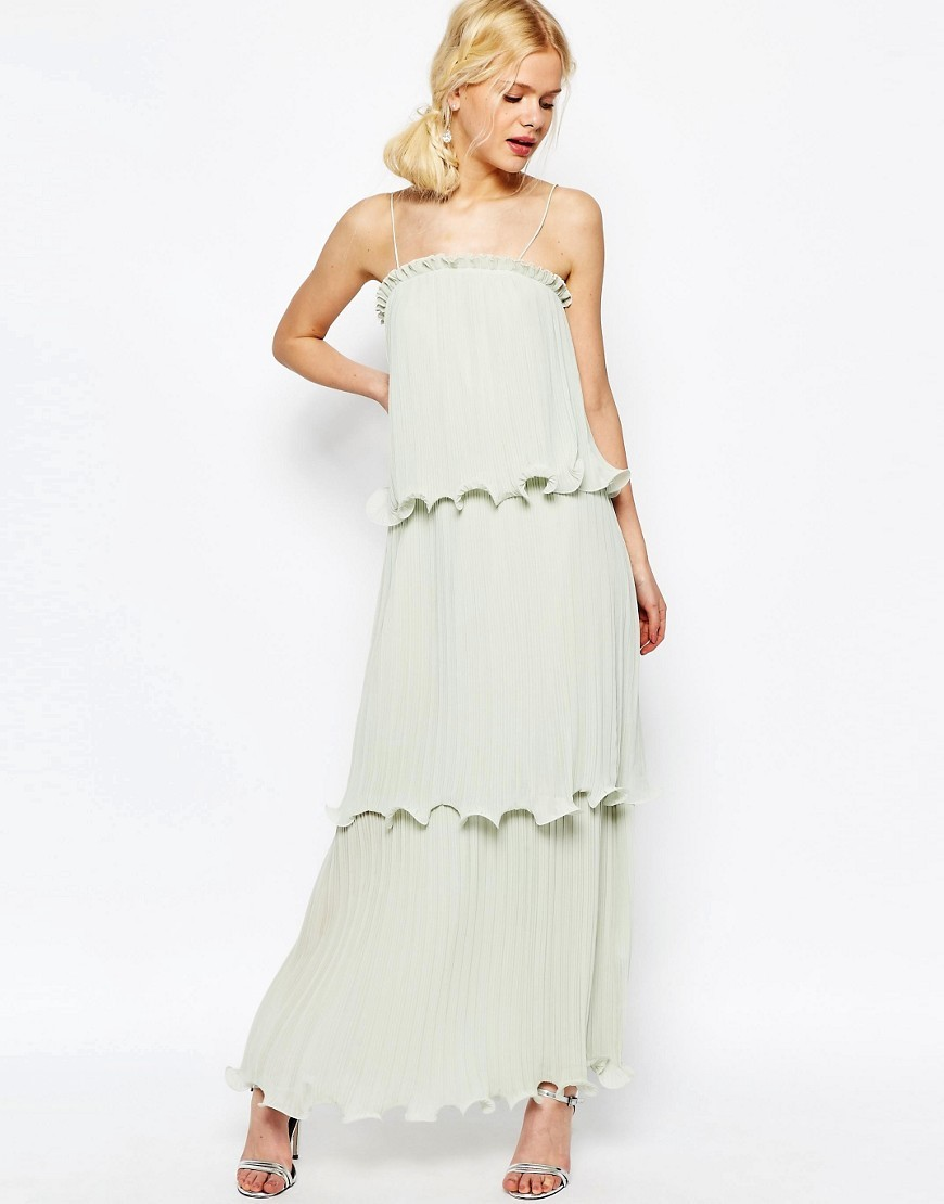 Maxi Dress With Tiered Pleats Soft Green - sleeve style: spaghetti straps; pattern: plain; style: maxi dress; length: ankle length; predominant colour: pistachio; occasions: evening; fit: body skimming; fibres: polyester/polyamide - 100%; sleeve length: sleeveless; neckline: medium square neck; pattern type: fabric; texture group: other - light to midweight; season: s/s 2016