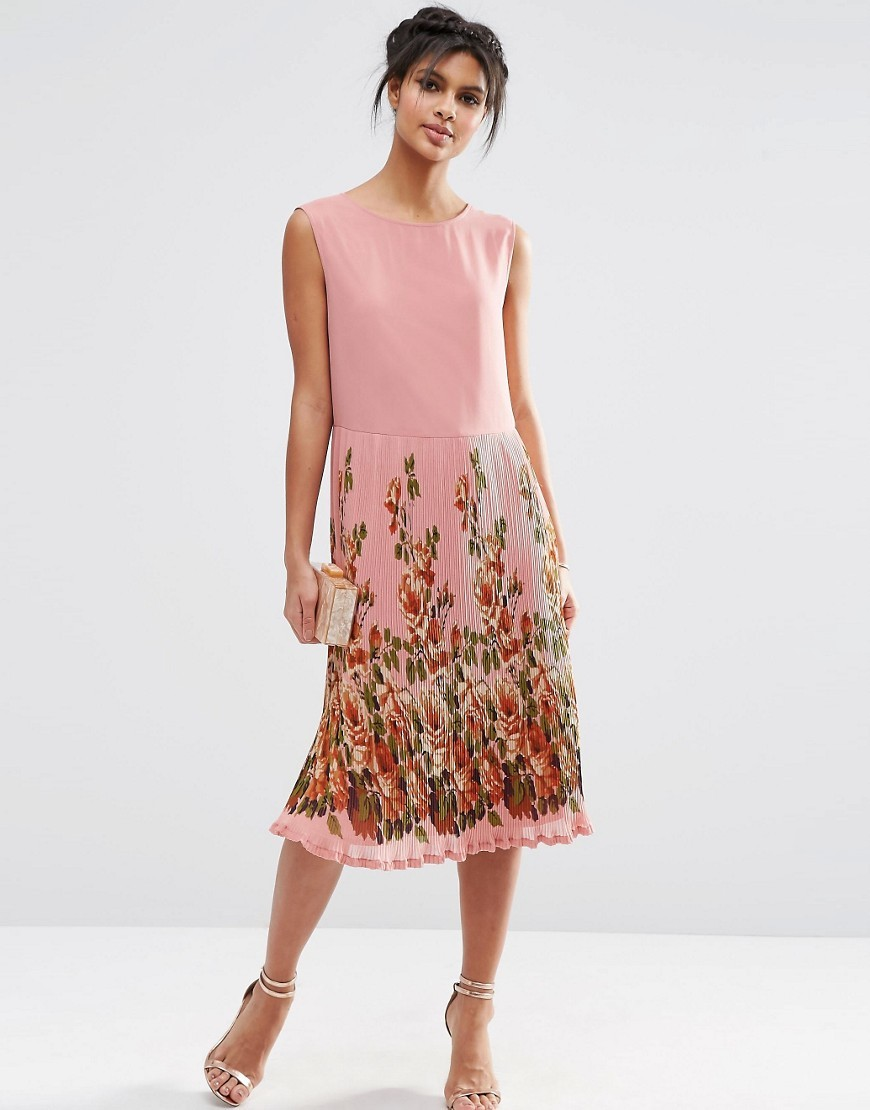 Midi Dress With Pleated Skirt And Border Print Print - style: shift; length: calf length; fit: tailored/fitted; sleeve style: sleeveless; predominant colour: pink; secondary colour: true red; occasions: evening; fibres: polyester/polyamide - 100%; neckline: crew; sleeve length: sleeveless; pattern type: fabric; pattern: florals; texture group: other - light to midweight; multicoloured: multicoloured; season: s/s 2016; wardrobe: event