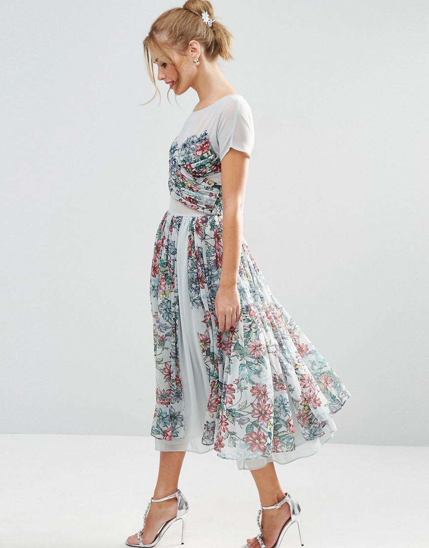Salon Soft Floral Midi Prom Dress Blue - length: calf length; style: prom dress; predominant colour: white; secondary colour: mid grey; occasions: evening; fit: fitted at waist & bust; fibres: polyester/polyamide - 100%; neckline: crew; sleeve length: short sleeve; sleeve style: standard; pattern type: fabric; pattern: florals; texture group: other - light to midweight; multicoloured: multicoloured; season: s/s 2016; wardrobe: event