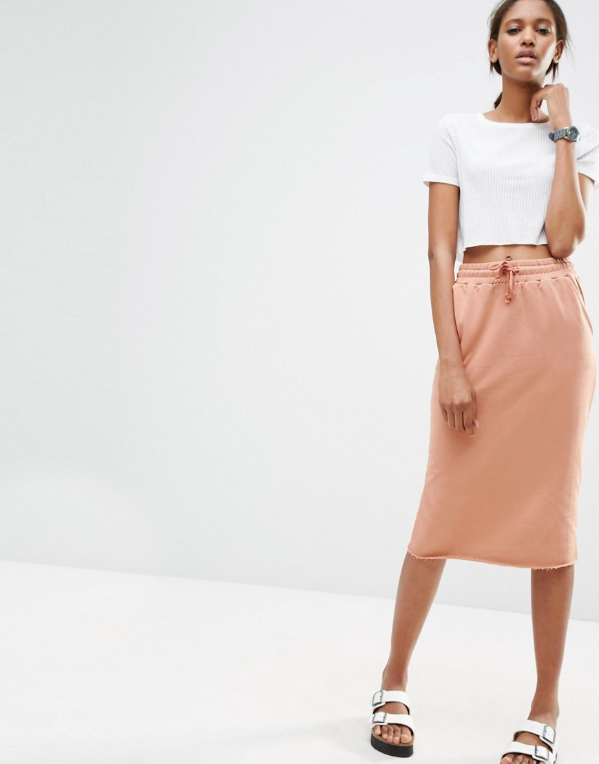 Midi Pencil Skirt In Sweat With Drawstring Waist Salmon - length: below the knee; pattern: plain; style: straight; waist: high rise; predominant colour: pink; occasions: casual; fibres: cotton - 100%; fit: straight cut; pattern type: fabric; texture group: other - light to midweight; season: s/s 2016