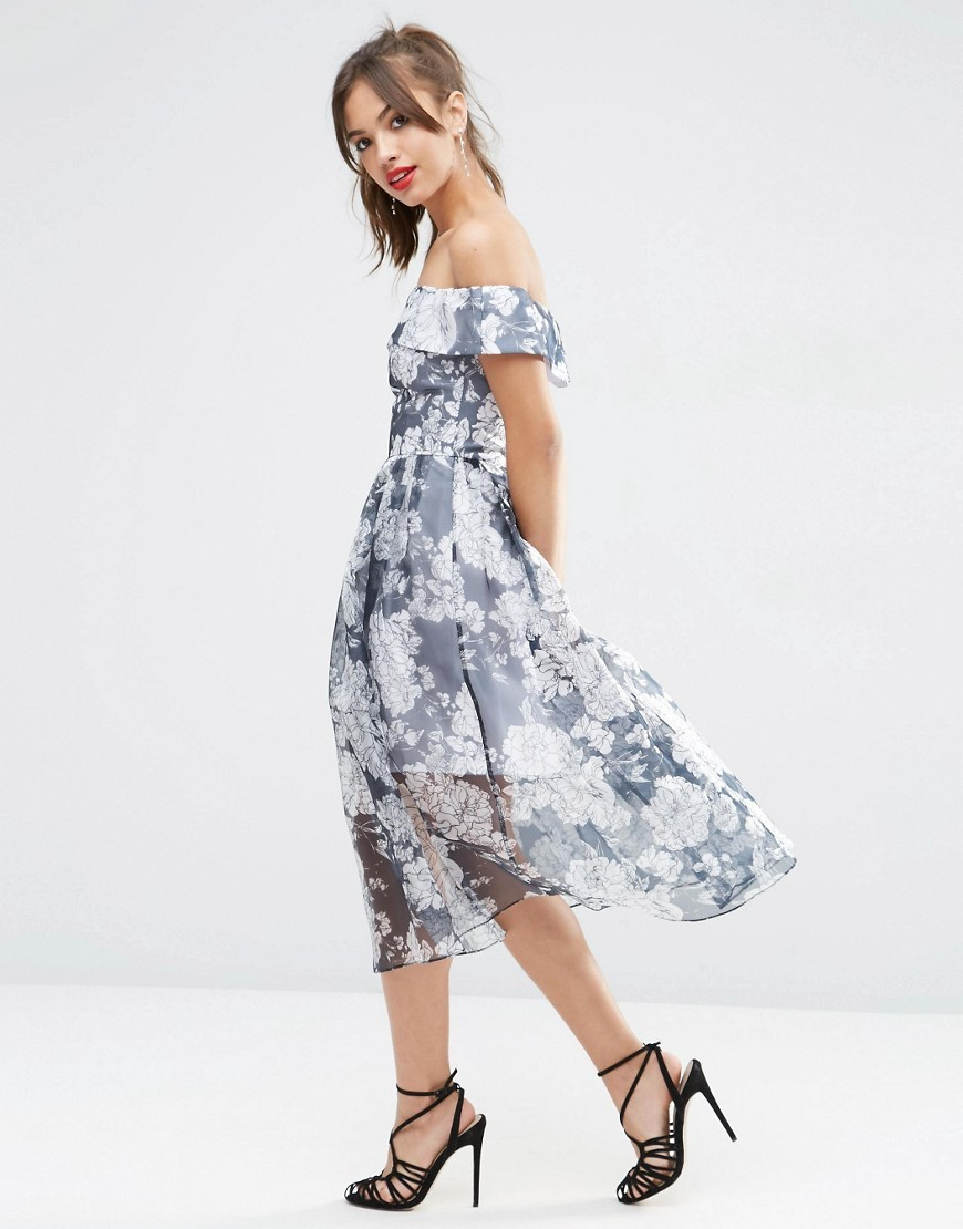Navy Floral Bardot Organza Midi Dress Multi - length: below the knee; neckline: off the shoulder; secondary colour: white; predominant colour: denim; fit: fitted at waist & bust; style: fit & flare; fibres: polyester/polyamide - 100%; occasions: occasion; sleeve length: short sleeve; sleeve style: standard; texture group: sheer fabrics/chiffon/organza etc.; pattern type: fabric; pattern size: standard; pattern: florals; season: s/s 2016