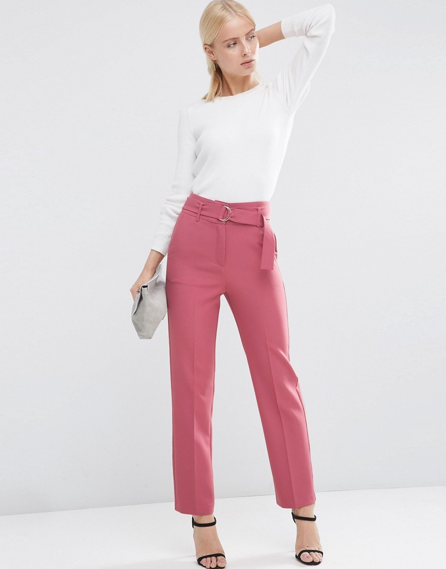 Highwaist Trousers With Belt Detail Dusky Pink - pattern: plain; style: peg leg; waist: high rise; waist detail: belted waist/tie at waist/drawstring; occasions: evening, creative work; length: ankle length; fibres: polyester/polyamide - 100%; texture group: cotton feel fabrics; fit: tapered; pattern type: fabric; predominant colour: dusky pink; season: s/s 2016; wardrobe: highlight
