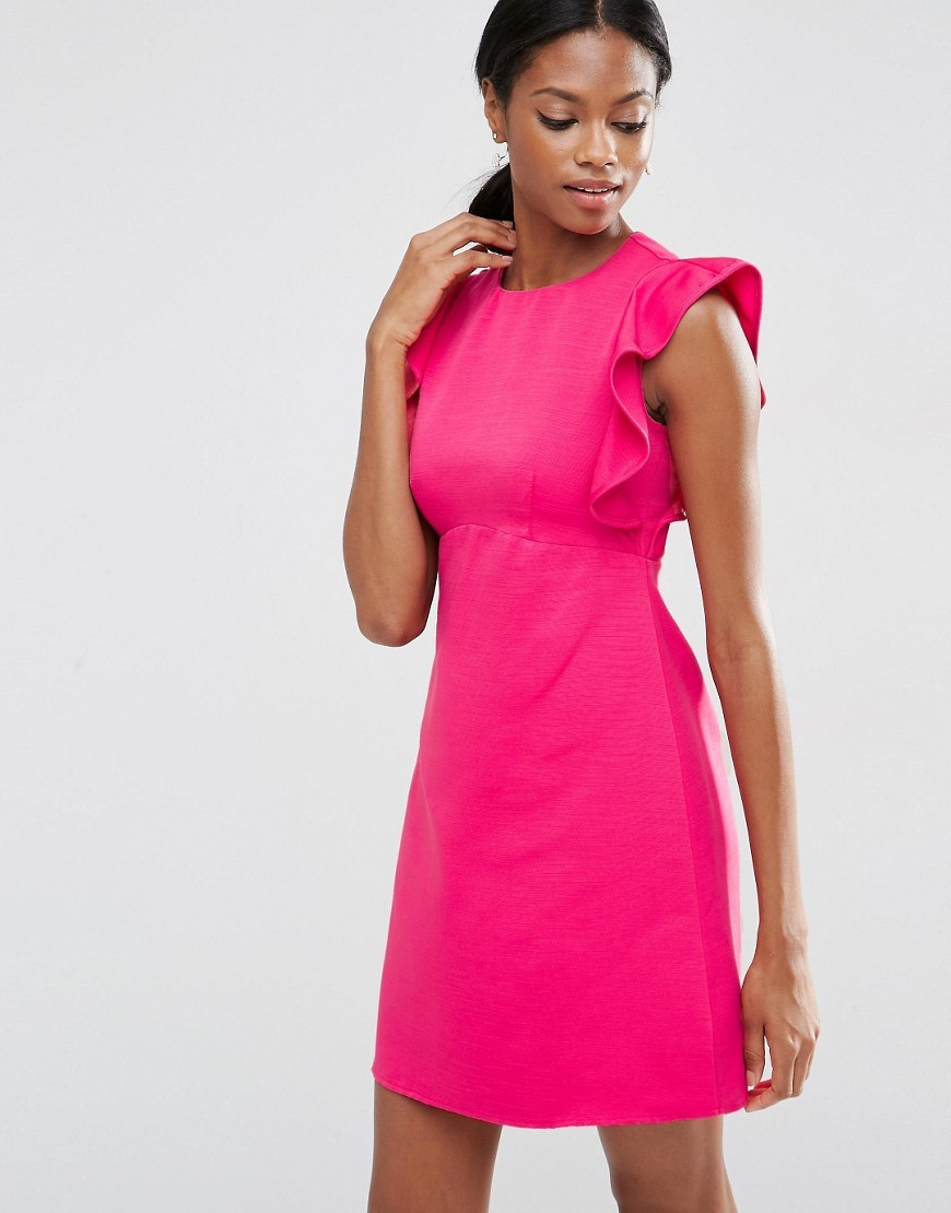 Frill A Line Shift Dress Pink - style: shift; length: mid thigh; fit: tailored/fitted; pattern: plain; sleeve style: volant; predominant colour: hot pink; fibres: polyester/polyamide - mix; occasions: occasion; neckline: crew; sleeve length: short sleeve; pattern type: fabric; texture group: other - light to midweight; season: s/s 2016; wardrobe: event