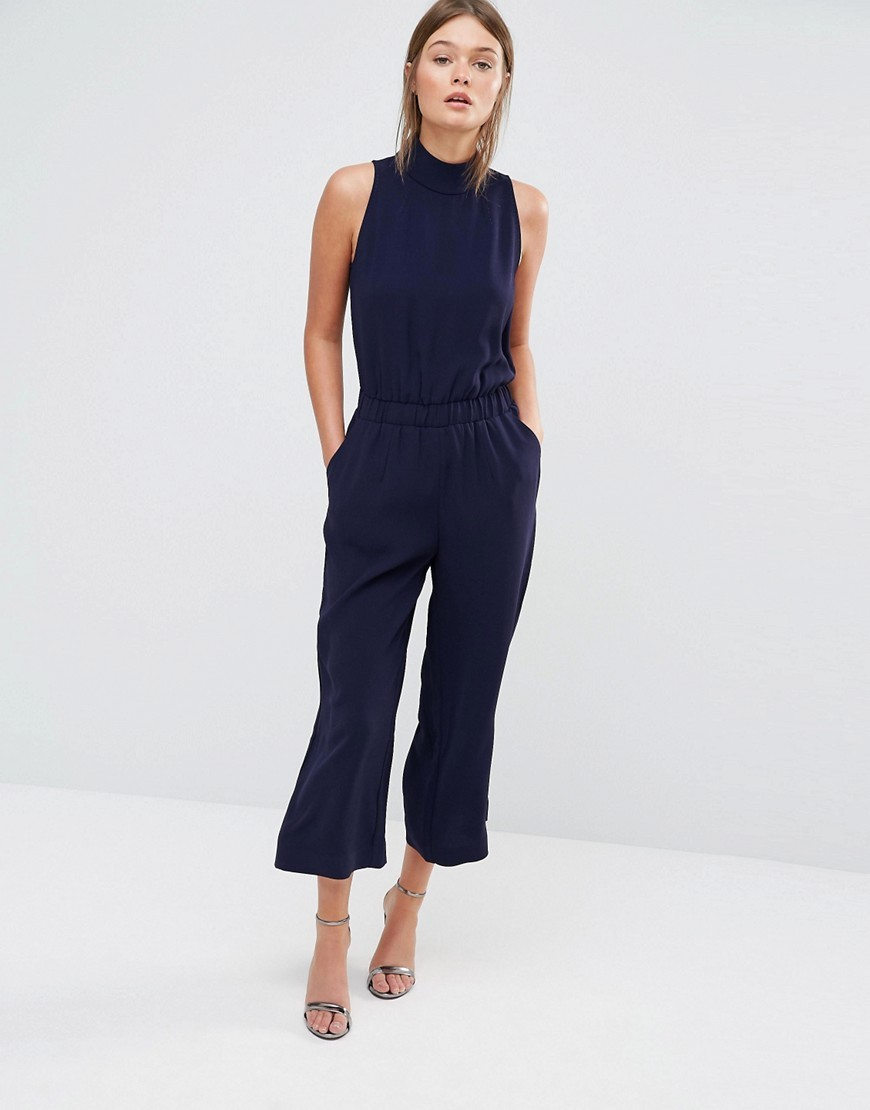 Gwendie Jumpsuit With High Neck 12 Dark Blue - fit: tailored/fitted; pattern: plain; sleeve style: sleeveless; neckline: high neck; predominant colour: navy; occasions: evening, creative work; length: calf length; fibres: polyester/polyamide - 100%; sleeve length: sleeveless; style: jumpsuit; pattern type: fabric; texture group: other - light to midweight; season: s/s 2016; wardrobe: highlight