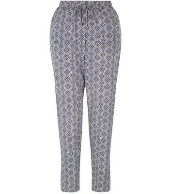 Blue Tile Print Joggers - length: standard; style: harem/slouch; waist detail: belted waist/tie at waist/drawstring; waist: mid/regular rise; predominant colour: light grey; occasions: casual; fibres: polyester/polyamide - 100%; fit: tapered; pattern type: fabric; pattern: patterned/print; texture group: other - light to midweight; season: s/s 2016; wardrobe: highlight