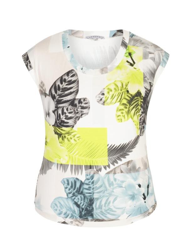 Turquoise/Lime Fern & Floral Print Jersey Top - neckline: round neck; sleeve style: capped; secondary colour: white; predominant colour: primrose yellow; occasions: casual; length: standard; style: top; fibres: viscose/rayon - stretch; fit: body skimming; sleeve length: short sleeve; pattern type: fabric; pattern size: standard; pattern: florals; texture group: jersey - stretchy/drapey; multicoloured: multicoloured; season: s/s 2016; wardrobe: highlight
