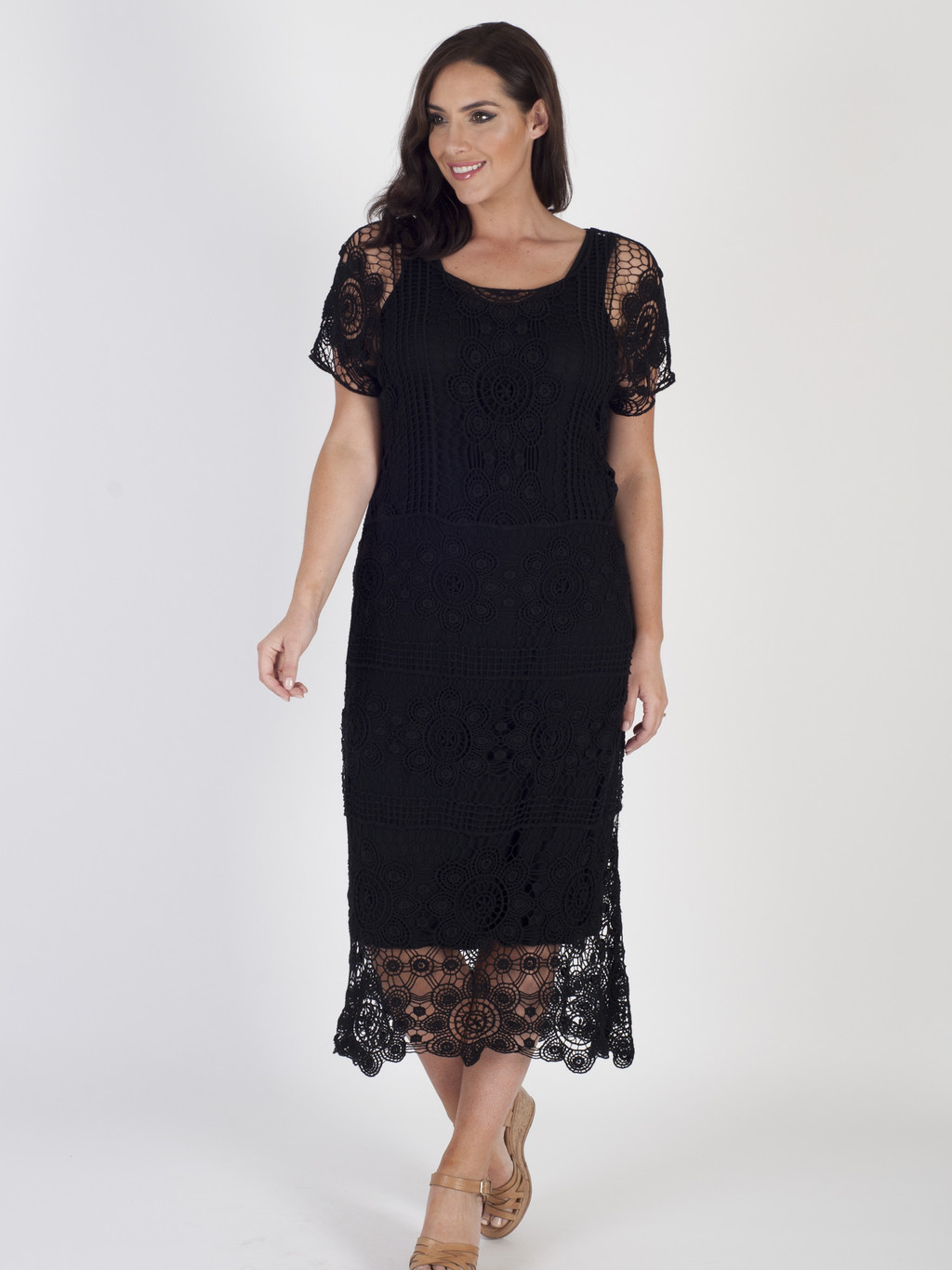 Black Crochet Dress With Lining - style: shift; length: calf length; neckline: round neck; predominant colour: black; occasions: casual, holiday; fit: body skimming; fibres: polyester/polyamide - 100%; sleeve length: short sleeve; sleeve style: standard; texture group: knits/crochet; pattern type: knitted - other; pattern size: standard; pattern: patterned/print; shoulder detail: sheer at shoulder; season: s/s 2016; wardrobe: highlight