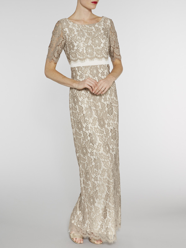 Gina Bacconi Beige Scallop Flower Lace On Crepe Maxi Dress - style: maxi dress; predominant colour: champagne; occasions: evening, occasion; length: floor length; fit: body skimming; fibres: polyester/polyamide - 100%; neckline: crew; sleeve length: short sleeve; sleeve style: standard; texture group: lace; pattern type: fabric; pattern size: standard; pattern: patterned/print; embellishment: lace; season: s/s 2016; wardrobe: event