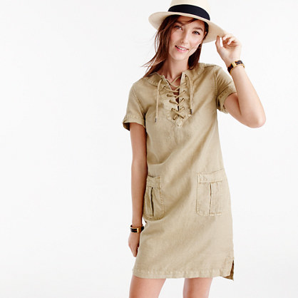 Cargo Dress - style: shift; neckline: round neck; pattern: plain; predominant colour: stone; occasions: casual; length: just above the knee; fit: body skimming; fibres: cotton - mix; sleeve length: short sleeve; sleeve style: standard; pattern type: fabric; texture group: other - light to midweight; season: s/s 2016; wardrobe: basic