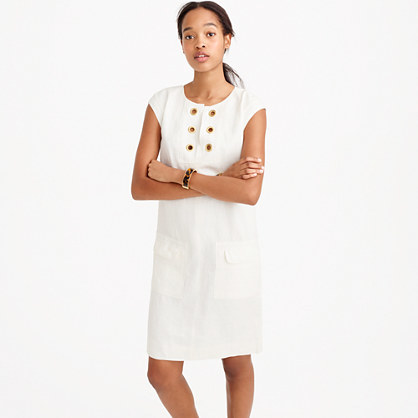 Petite Linen Shift Dress With Grommets - style: shift; sleeve style: capped; pattern: plain; predominant colour: white; occasions: casual; length: just above the knee; fit: body skimming; fibres: linen - 100%; neckline: crew; sleeve length: short sleeve; texture group: linen; pattern type: fabric; season: s/s 2016; wardrobe: basic