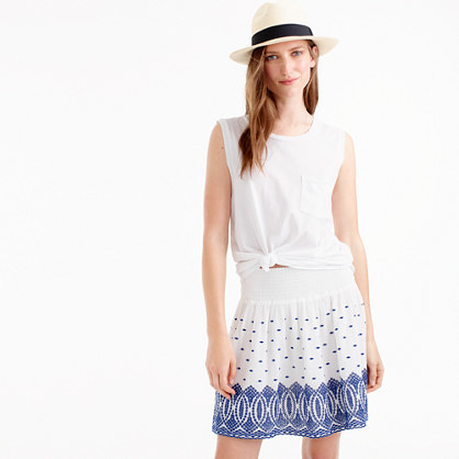 Embroidered Gauze Eyelet Mini Skirt - length: mid thigh; pattern: plain; fit: loose/voluminous; style: pleated; waist: mid/regular rise; predominant colour: white; secondary colour: denim; occasions: casual, holiday; fibres: cotton - 100%; texture group: cotton feel fabrics; pattern type: fabric; embellishment: embroidered; season: s/s 2016; wardrobe: highlight