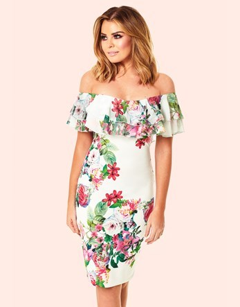 Off The Shoulder Floral Frill Bodycon Dress - length: below the knee; neckline: off the shoulder; fit: tight; style: bodycon; predominant colour: white; secondary colour: true red; occasions: evening; fibres: polyester/polyamide - stretch; sleeve length: short sleeve; sleeve style: standard; texture group: jersey - clingy; pattern type: fabric; pattern: florals; multicoloured: multicoloured; season: s/s 2016; wardrobe: event