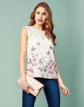 Sleeveless Printed Top - sleeve style: sleeveless; bust detail: sheer at bust; style: vest top; predominant colour: white; secondary colour: pink; occasions: casual; length: standard; fibres: polyester/polyamide - stretch; fit: body skimming; neckline: crew; sleeve length: sleeveless; pattern type: fabric; pattern size: standard; pattern: florals; texture group: jersey - stretchy/drapey; embellishment: lace; multicoloured: multicoloured; season: s/s 2016; wardrobe: highlight