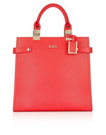 Metal Hinge Structured Tote Bag - predominant colour: true red; occasions: casual; type of pattern: standard; style: tote; length: hand carry; size: standard; material: faux leather; pattern: plain; finish: plain; season: s/s 2016; wardrobe: highlight