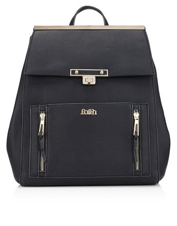 Zip Detail Premium Back Pack - predominant colour: black; occasions: casual, creative work; type of pattern: standard; style: rucksack; length: rucksack; size: standard; material: faux leather; pattern: plain; finish: plain; season: s/s 2016; wardrobe: basic