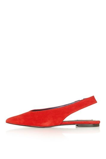 Kandi Pointed Slingback Shoe - predominant colour: true red; occasions: casual, creative work; material: leather; heel height: flat; toe: pointed toe; style: ballerinas / pumps; finish: plain; pattern: plain; trends: glossy girl; season: s/s 2016; wardrobe: highlight