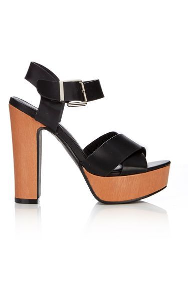 Black Cross Strap Chunky Platform Sandal - secondary colour: tan; predominant colour: black; occasions: evening; material: faux leather; heel height: high; ankle detail: ankle strap; heel: block; toe: open toe/peeptoe; style: strappy; finish: plain; pattern: plain; shoe detail: platform; season: s/s 2016