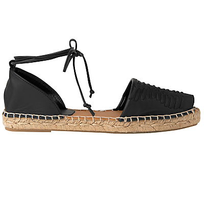 Syon Two Part Espadrilles - predominant colour: black; occasions: casual, holiday; material: faux leather; heel height: flat; ankle detail: ankle tie; toe: open toe/peeptoe; finish: metallic; pattern: plain; style: espadrilles; season: s/s 2016; wardrobe: highlight