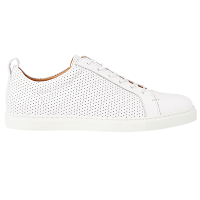 Kenley Lace Up Trainers, White - predominant colour: white; occasions: casual; material: leather; heel height: flat; toe: round toe; style: trainers; finish: plain; pattern: plain; season: s/s 2016; wardrobe: basic