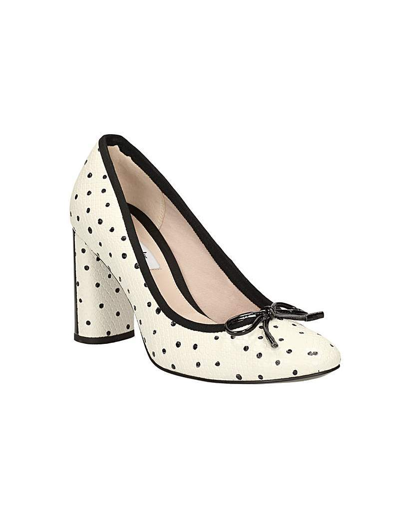 Idamarie Faye Shoes - secondary colour: ivory/cream; predominant colour: black; material: faux leather; heel height: high; heel: block; toe: round toe; style: courts; finish: plain; pattern: polka dot; occasions: creative work; season: s/s 2016; wardrobe: highlight
