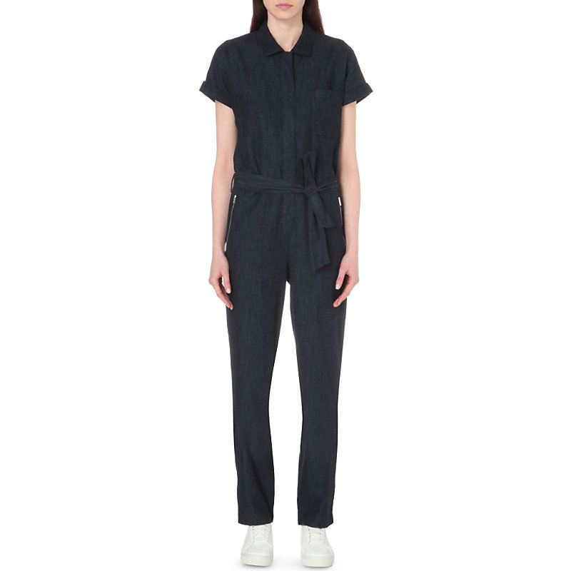 Tiggy Denim Jumpsuit, Women's, Royal Blue - length: standard; neckline: shirt collar/peter pan/zip with opening; fit: tailored/fitted; pattern: plain; waist detail: belted waist/tie at waist/drawstring; predominant colour: denim; occasions: casual, creative work; fibres: cotton - stretch; sleeve length: short sleeve; sleeve style: standard; texture group: denim; style: jumpsuit; bust detail: bulky details at bust; pattern type: fabric; season: s/s 2016; wardrobe: highlight