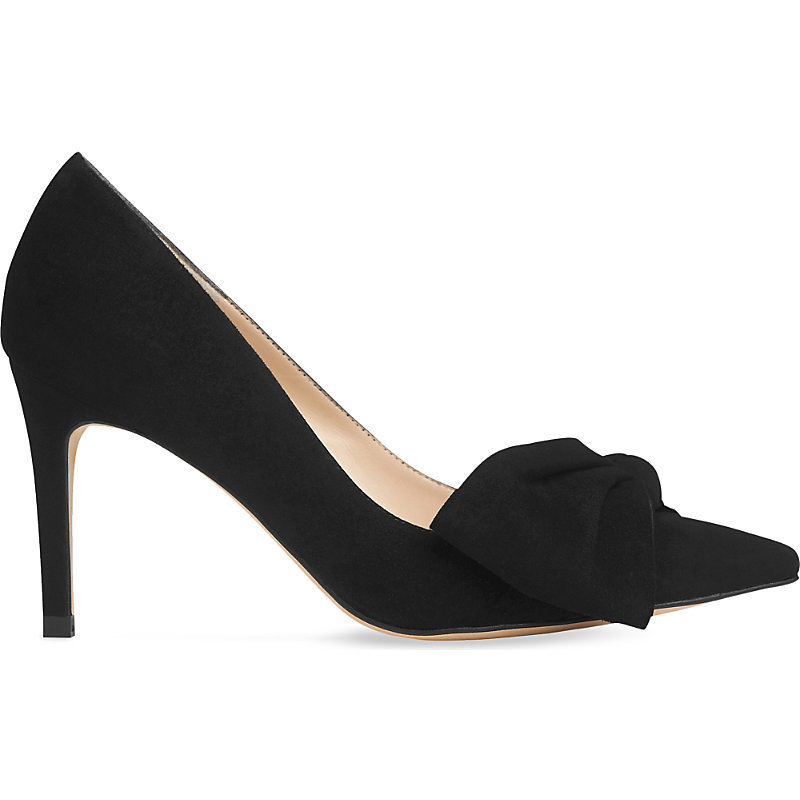 Caitlyn Bow Detail Suede Courts, Women's, Size: Eur 36 / 3 Uk Women, Bla Black - predominant colour: black; occasions: evening, work, occasion; material: suede; heel height: high; heel: stiletto; toe: pointed toe; style: courts; finish: plain; pattern: plain; embellishment: bow; season: s/s 2016; wardrobe: investment