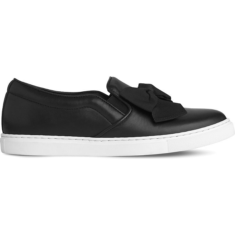 Beca Bow Embellished Leather Skate Shoes, Women's, Eur 36 / 3 Uk Women, Bla Black - predominant colour: black; occasions: casual; material: leather; heel height: flat; toe: round toe; finish: plain; pattern: plain; embellishment: bow; style: skate shoes; season: s/s 2016; wardrobe: basic