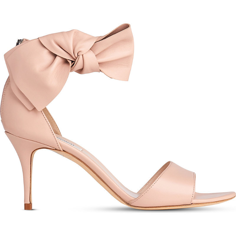 Agata Bow Embellished Leather Sandals, Women's, Eur 38 / 5 Uk Women, Pin Marshmallow - predominant colour: blush; occasions: evening, occasion; material: leather; heel height: high; ankle detail: ankle strap; heel: stiletto; toe: open toe/peeptoe; style: standard; finish: plain; pattern: plain; embellishment: bow; season: s/s 2016; wardrobe: event